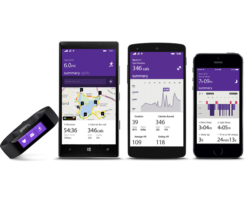 Microsoft Band on Windows, Android and iOS