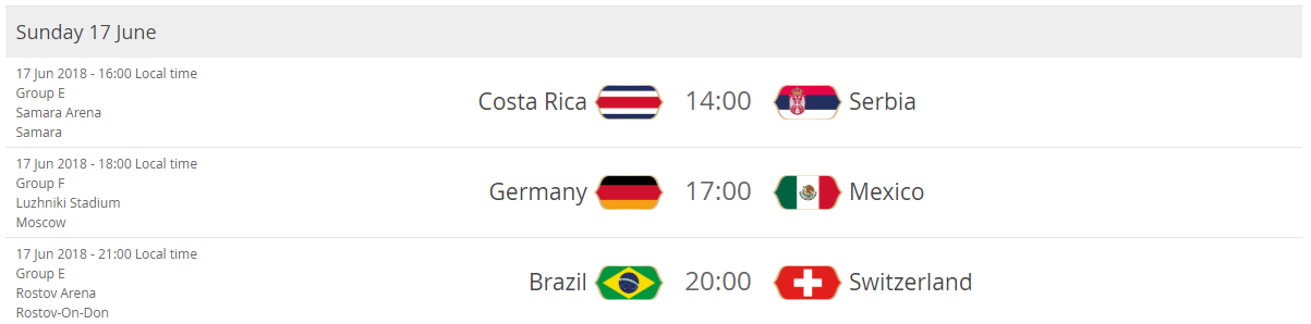 Costa Rica - Serbia Germany - Mexico Brazil - Switzerland