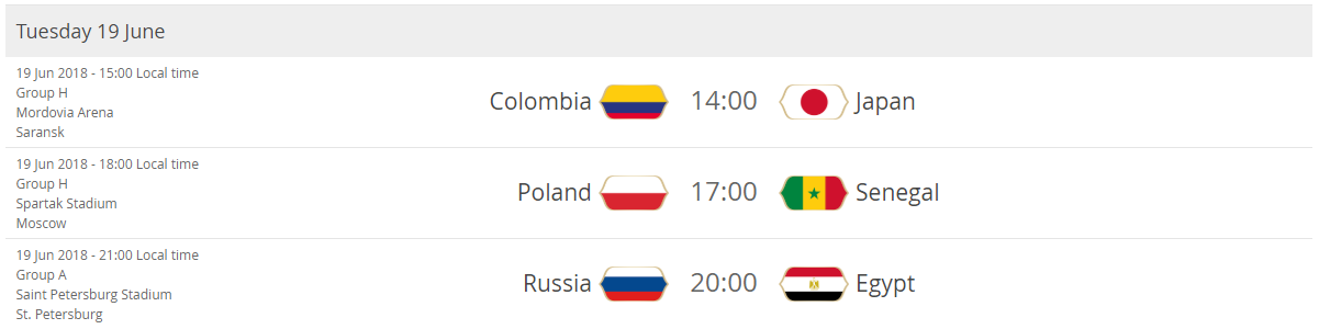 Colombia - Japan Poland - Senegal Russia - Egypt