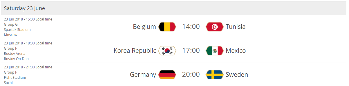 Belgium - Tunisia Korea Republic - Mexico Germany - Sweden