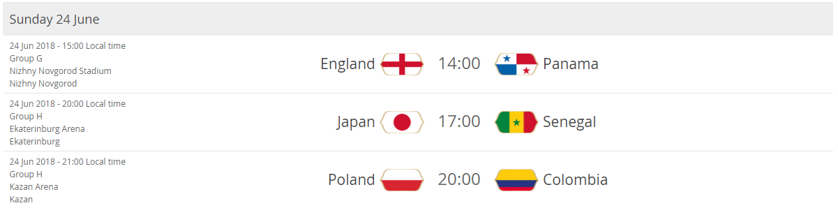 England - Panama Japan - Senegal Poland - Colombia