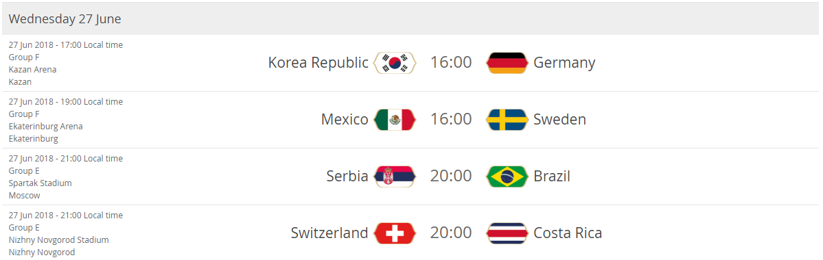 Korea Republic - Germany Mexico - Sweden Serbia - Brazil Switzerland - Costa Rica