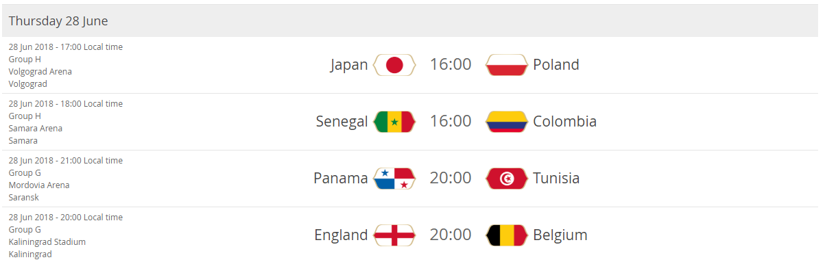 Japan - Poland Senegal - Colombia Panama - Tunisia England - Belgium